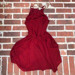 Red flowy skater dress